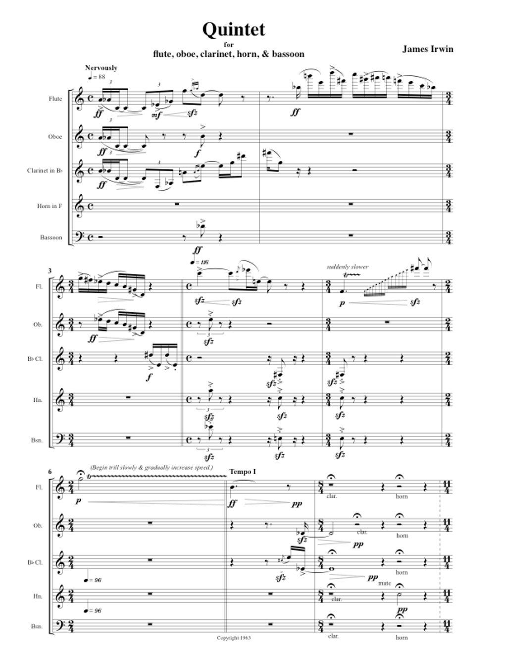 Movement for Woodwind Quintet -1963 | FRENCH HORN CHAMBER